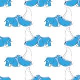 För djursymbol för sömlös bakgrund rolig NOSHÖRNING Royaltyfri Fotografi