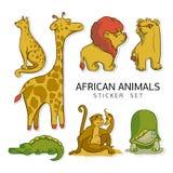 För djurvektor för klistermärke klar afrikansk uppsättning för bilder stock illustrationer