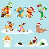 För djurvinter för illustration fastställda gåvor för pingvin för nordpolen för ferie och sledding ner kullarna, björnar under sn vektor illustrationer