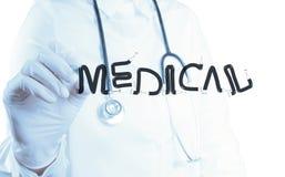 För doktorshandteckning för design MEDICINSK DOKTOR för ord arkivbild