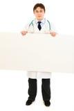för doktorsholding för affischtavla allvarlig blank läkarundersökning Royaltyfri Foto