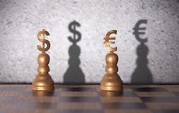 För dollar eurobegrepp kontra Arkivfoton