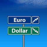 för dollar eurovägmärke ner upp Arkivfoto