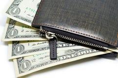för dollarläder för 100 bills som pengar klibbar ut oss plånbok Royaltyfri Bild