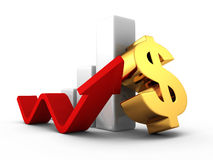 För dollarstång för affär lyckad graf med att växa upp pilen Fotografering för Bildbyråer
