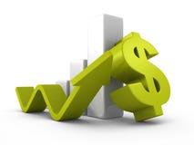 För dollarstång för affär lyckad graf med att växa upp pilen royaltyfri bild
