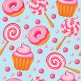 för donutsgodis för bakgrund sömlösa söta muffin Arkivfoton