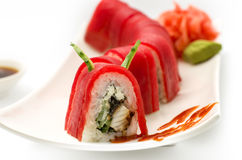 För drakeÐšÑ€Ð°Ñ för sushi röd ½ för ¾ Ð för ¹ Ð'ракРför ‹Ð för ½ Ñ  Ð Fotografering för Bildbyråer