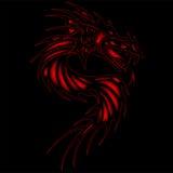 För drakesvart för tatuering röd bakgrund Arkivfoton