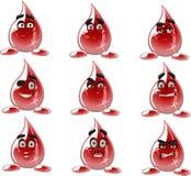för droppmoods för blod olika smilies Royaltyfri Foto