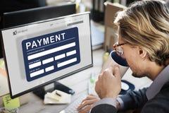 För E-kommers för betalning elektroniskt E-betalning kreditering begrepp Arkivfoto