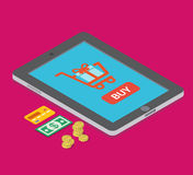 För e-kommers för feriegåvor lägenhet isometrisk vektor för online-shopping royaltyfri illustrationer
