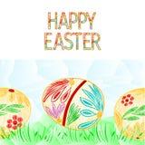 För easter för bakgrund för lycklig easter gräns sömlös illustration för vektor ägg och gräspolygonför bruk i inredesign, konstve Royaltyfri Bild