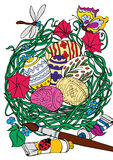 för easter för bunke färgrikt gräs ägg Arkivbilder
