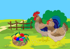 för easter för korghanefärg höna ägg Arkivbilder