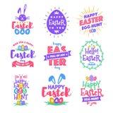 För easter för vektor lycklig stil för typografi för colorfull för uppsättning för emblem dag royaltyfri illustrationer