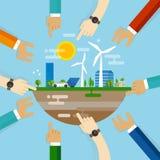 För Eco vänligt stadsutveckling för planläggning samarbete tillsammans med gemenskap på att klara av den beboeliga hållbara värld stock illustrationer