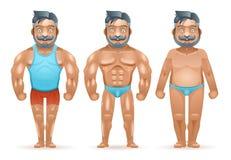 För efter tecknade filmen 3d för mannen för kroppsbyggaren för sportviktförlust den muskulösa feta isolerade lyckliga tecken plan stock illustrationer