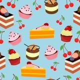 För efterrättuppsättning för kaka söt modell stock illustrationer