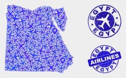 För för Egypten för flygplansammansättningsvektor skyddsremsor översikt och Grunge royaltyfri illustrationer