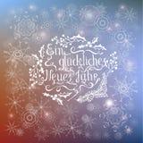 För Ein för jul betyder vit märka jahr för neues glckliches lyckligt nytt år i tyskt språk vektor illustrationer