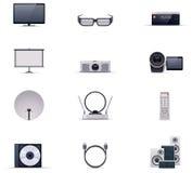 För elektroniksymbol för vektor video uppsättning royaltyfri illustrationer