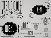 för elementmeny för cafe calligraphic restaurang Royaltyfria Bilder