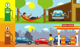 För elkraft för bensinbil kontra illustrationer stock illustrationer