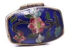 För emaljcloisonne för antikvitet blå snuffbox Arkivbild