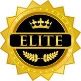 För emblemetikett för elit guld- symbol Stock Illustrationer