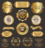 För emblemsamling för Retro tappning guld- illustration för vektor Royaltyfria Foton