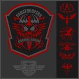 För emblemuppsättning för special enhet militär mall för design för vektor Arkivbild