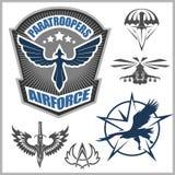 För emblemuppsättning för special enhet militär mall för design för vektor Royaltyfri Bild