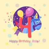 För emblemvektor för lycklig födelsedag symbol Arkivfoton