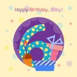 För emblemvektor för lycklig födelsedag symbol Royaltyfria Bilder
