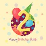 För emblemvektor för lycklig födelsedag symbol Arkivbild