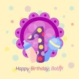 För emblemvektor för lycklig födelsedag symbol Arkivfoto