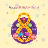 För emblemvektor för lycklig födelsedag symbol Royaltyfria Foton