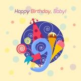 För emblemvektor för lycklig födelsedag symbol Royaltyfri Bild