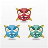 För Emoticonkula för vektor ilsken illustration för design Royaltyfri Bild