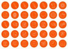 För en skolaplats eller häfte en uppsättning av trettiofem linjära runda monokromma symbolssymboler, färgändring i en klick Royaltyfri Foto
