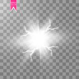 För energichock för vit special ljus effekt för abstrakt explosion med gnistan Klunga för blixt för vektorglödmakt elkraft royaltyfri illustrationer
