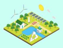 För energiförbrukning för ekologi grön sikt för begrepp 3d isometrisk vektor Arkivbild