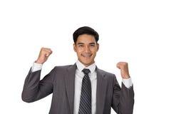 för entreprenöraffärsman för ung asiatisk man startup lönelyft hans händer royaltyfria foton