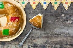 För epiphanykaka för spanjor typisk Roscon de Reyes för ` `, royaltyfri foto