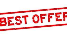 För erbjudandeord för Grunge röd bästa zoom för stämpel för gummi för fyrkant ut från vit bakgrund stock illustrationer