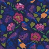 För Erithacusrubecula för Sturnus vulgaris iris för Tulipa för Paeonia för phoenicurus för Phoenicurus fågelblommor mönsan seamle stock illustrationer