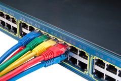 för Ethernetnätverk för kablar kulör strömbrytare Fotografering för Bildbyråer
