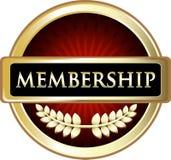 För etikettemblem för medlemskap röd symbol Vektor Illustrationer