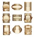 för etikettlyx för samling guld- vektor Arkivbilder